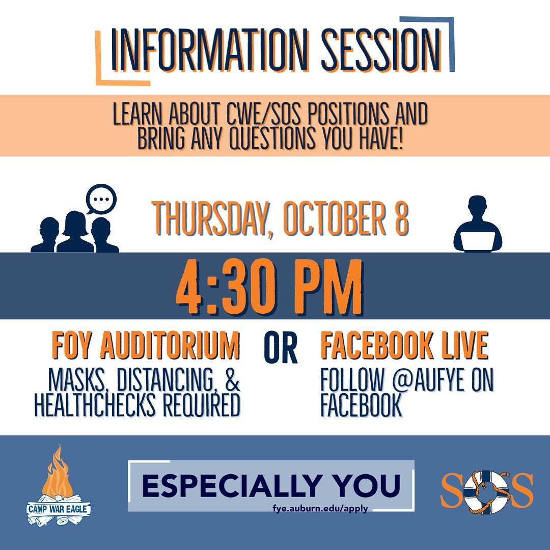 Information Session, Learn about CWE/SOS positions and bring any questions you have! Thursday, October 8, 4:30 PM, Foy Auditorium (masks, distancing, & Healthchecks required) OR Facebook Life (follow @AUFYE on Facebook).